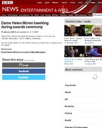 VIDEO Dame Helen Mirren twerking: BBC News